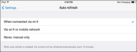 Auto refresh options