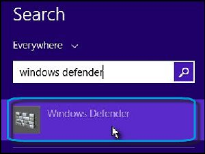 Search results with Windows Defender selected