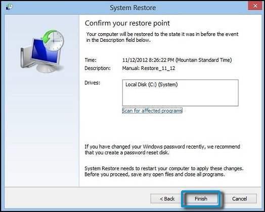 The Confirm your restore point System Properties window, with Finish selected