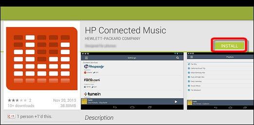 Tela de instalação do aplicativo HP Connected Music