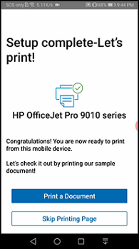 Skip printing or print a page when setup is complete