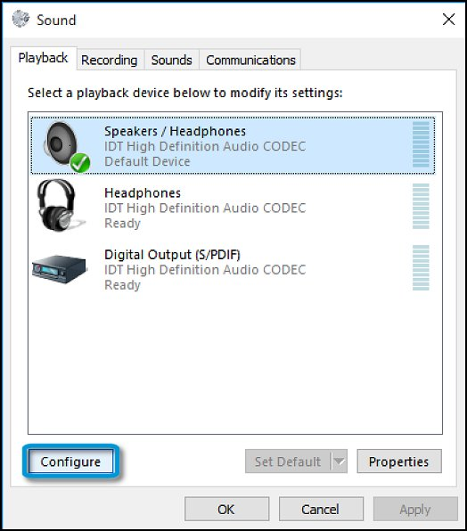Configure default playback device