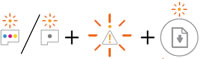 One or both Printhead lights, Warning light, Error light, and Resume light blinking