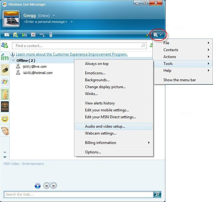 Image of Windows live messenger showing an expanded drop down menu