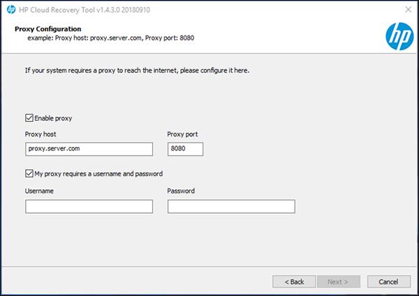 Proxy Configuration window