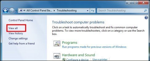View all Troubleshooting Control Panel option