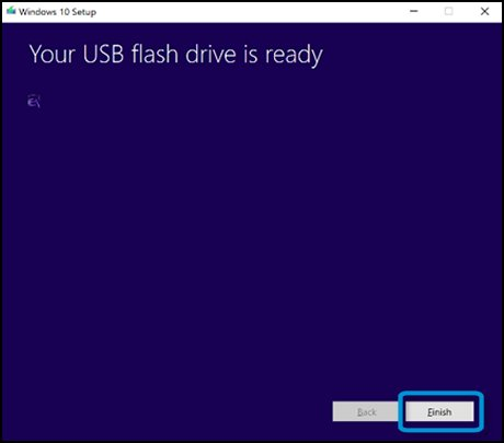 Clicking Finish on the Your USB flash drive is ready window