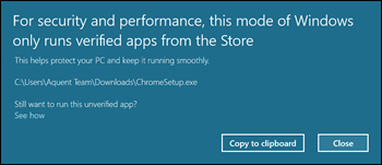 Pop up window displays when downloading apps outside of the Windows Store