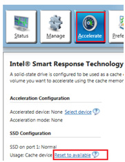 Intel Smart Response Technology window