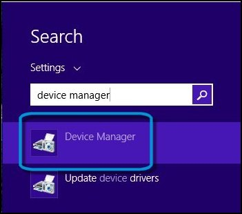 Device manager text in search box
