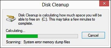 Disk Cleanup calculating the space that can be freed on the disk drive