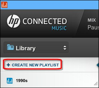 Create New Playlist in the HP Connected Music Library