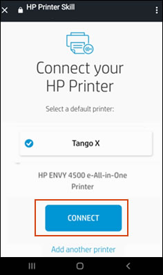 Selecting a printer, and then clicking Connect