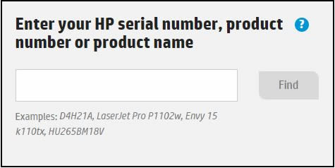 Enter HP model number, showing the field to type in