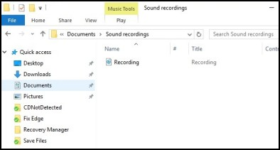 Sound recordings folder