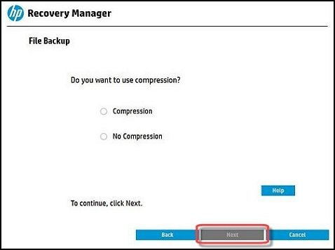 Sélection de l'option Compression ou Sans compression