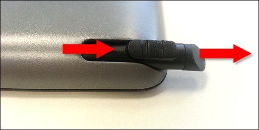 Stylus sliding out of the stylus bay