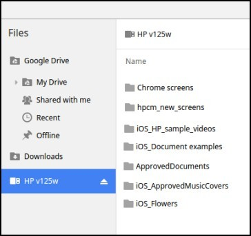 USB drive in the Files app