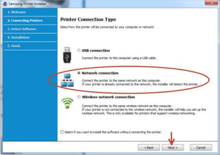 Image shows the network connection option highlighted