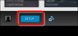 Botão configuração na tela inicial do HP Connected Music