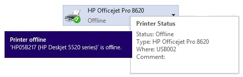 Examples of printer offline status messages