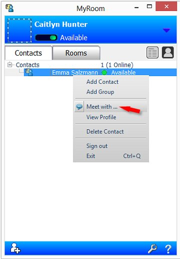 Image of a contact right-click menu with Meet with... selected