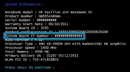 Número de la placa base CT en la pantalla de información del sistema