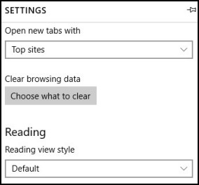 Location of the  Clear browsing data button