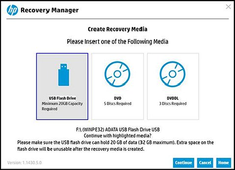 Create Recovery Media with USB Flash Drive recognized