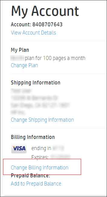 Clicking Change Billing Information