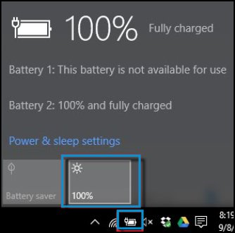 Battery icon and Brightness button selected