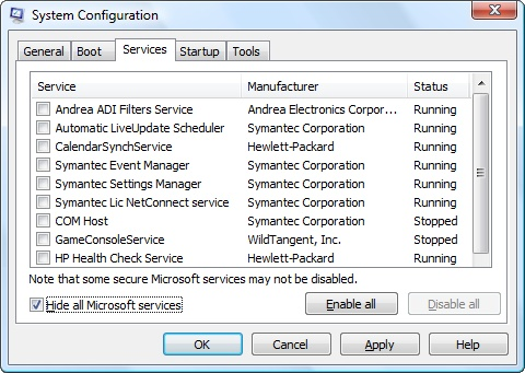 Services listed on Services tab with Microsoft services hidden and all other services unselected