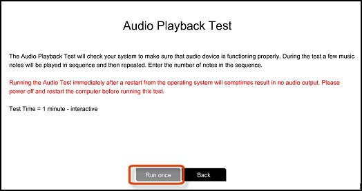 Audio playback test information