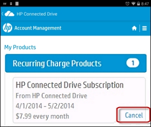 Cancelación de HP Connected Drive