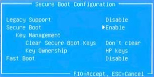 Secure Boot Configuration window