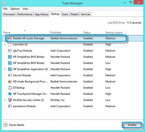 Task Manager Startup tab showing how to disable a startup application
