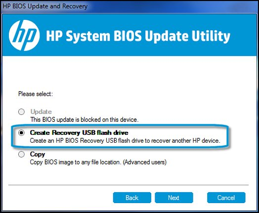 Create Recovery USB flash drive in HP System BIOS Update Utility