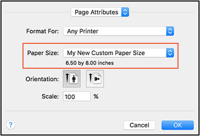 How to change default paper size setting in Windows 10 to custom size?