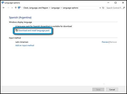 Ventana de opciones de idioma con Descargar e instalar paquete de idioma resaltado