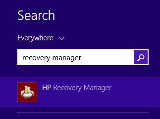 Recovery manager entered in search box.
