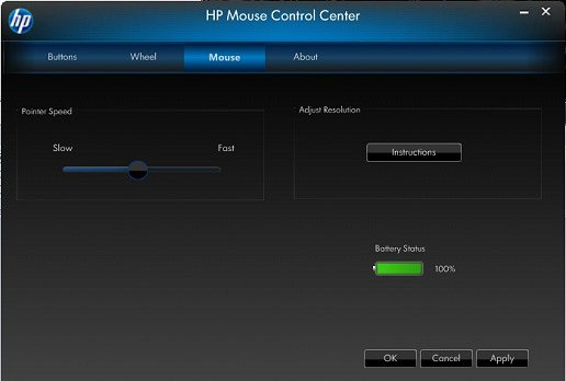 Image of the Mouse Control Center's Mouse tab.