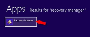 Recovery Manager search results