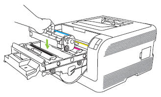 Illustration: Insert the print cartridge into the correct slot.