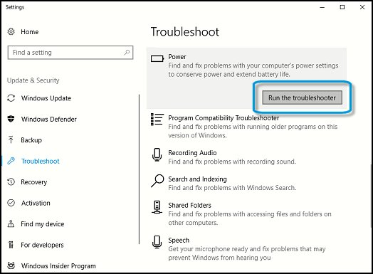Running the Power troubleshooter