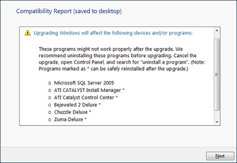 Report screen showing a list of software programs that cannot be upgrade or do not work correctly in Windows 7
