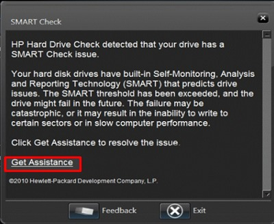 Get assistance for a failed hard drive check in HP Support Assistant