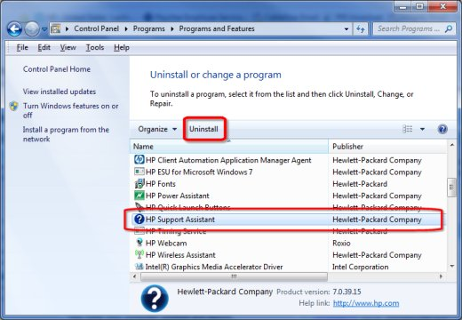 Image of the Uninstall screen from the Control Panel with HPSA highlighted.