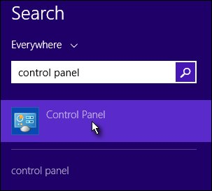 Search charm with Control Panel selected