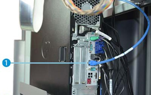 Image: Printer PC network ports and cables