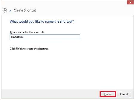 Typing a name for the shortcut